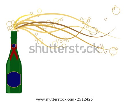 Generic champagne bottle in jpg format with bubbles bursting out of the bottle. Labels can be used for text messages.