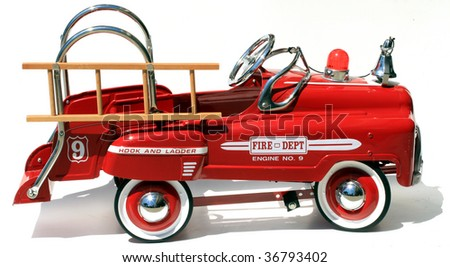 """generic childs metal pedal car firetruck """"isolated on white"""""""