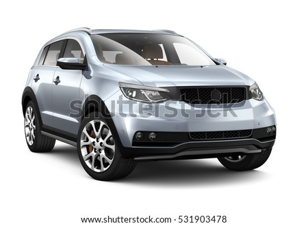 Generic compact SUV - 3D render on white