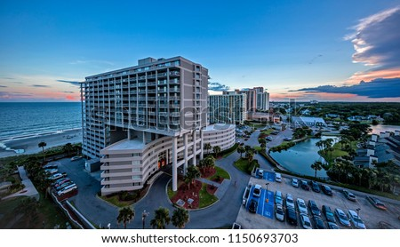 Generic condo buildings and sunset at Myrtle Beach in South Carolina, USA