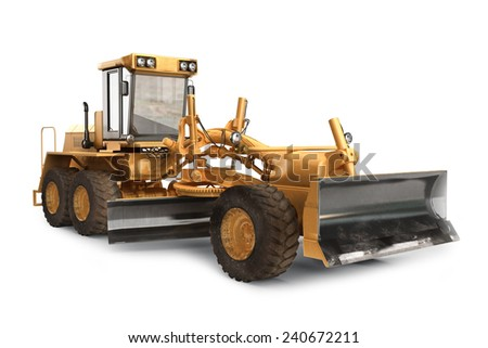 Generic construction road grader construction machinery equipment positioned on a white background