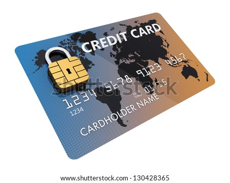 Generic credit card with security chip as padlock , isolated on white