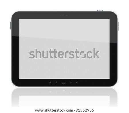 Generic digital tablet pc. Include clipping path for tablet and screen. Isolated on white.