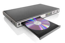 Generic DVD CD MP3 JPEG player isolated on white.