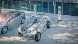 generic electric car with battery visible x-ray charging at public charger in city parking lot with lens flare 3d render