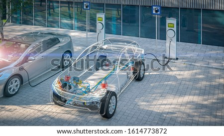 Photo of  generic electric car with battery visible x-ray charging at public charger in city parking lot with lens flare 3d render