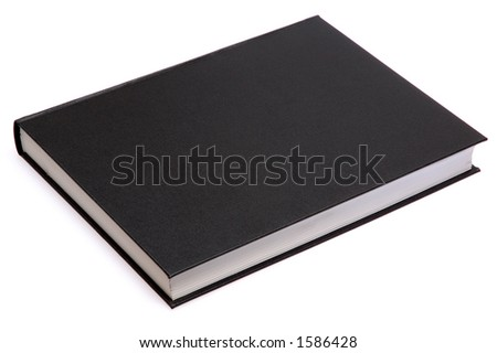 generic hard bound black book with blank cover isolated on white