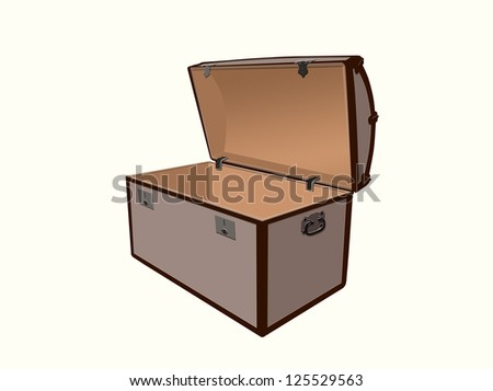 Generic illustration of a treasure box, open and empty on a white background.