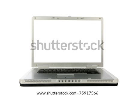 generic 18 inch laptop computer with a white screen with room for your text, isolated on white