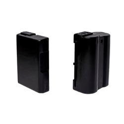 Generic lithium batteries for DSLR camera on isolated white backdrop. EN-EL-14 and EN-EL-15 (right) for Nikon.