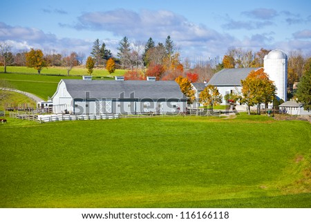 Generic looking colonial style dairy farm in New England, America