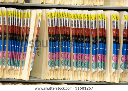 Generic Medical Record Folder on Shelf
