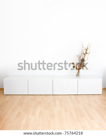 Generic modern room with shelves and wooden floor