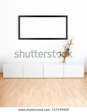 Generic modern room with shelves, wooden floor and empty black frame