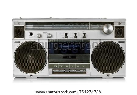 Generic Portable vintage radio cassette recorder, without trandmark, isolated on white background. #751276768