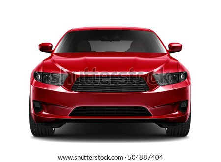 Shutterstock Generic red car - front view (3D render)