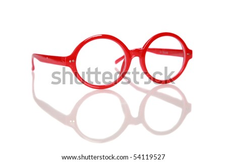 generic red fashion glasses with reflections isolated on white