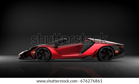Generic red sports car (with grunge overlay), brandless, side view - 3d illustration