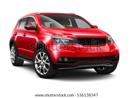 Generic red SUV - 3D render on white