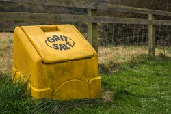 Generic rural yellow grit and salt bin usually seen on public roads.