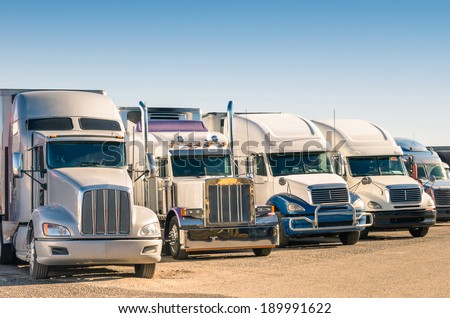 Generic semi Trucks at a parking lot