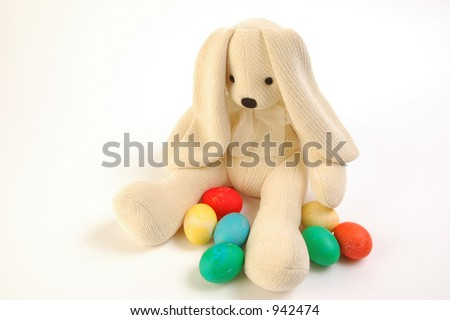 Generic stuffed bunny with colored eggs