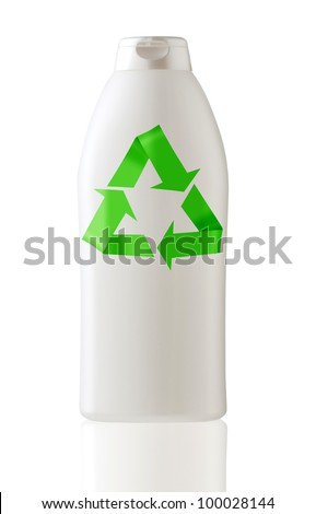 Generic white bottle in white background with recycle symbol.