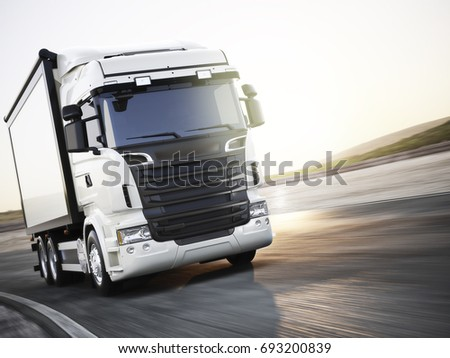 Generic white industrial transport truck traveling down the road with motion blur. Room for copy space. 3d rendering