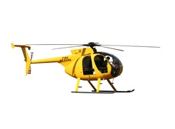 Generic yellow helicopter used for fire fighting and rescue operations, isolated.