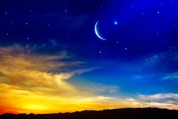 Generous Ramadan. New moon. Red sunset and moon. Cloudy landscape and star sky.