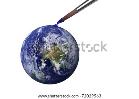 Genesis - colouring blue planet earth. Earth view image comes from http://visibleearth.nasa.gov
