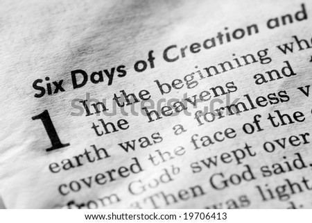 Genesis 1:1 - In the beginning, and old, used bible