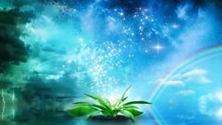 genesis of life and beginning of evolution concept illustration