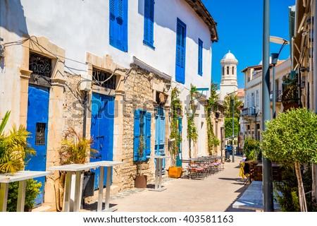 stock photo genethliou mitellla street a touristic street leading to ayia napa cathedral limassol cyprus 403581163 - Каталог — Фотообои «Улицы, переулки»