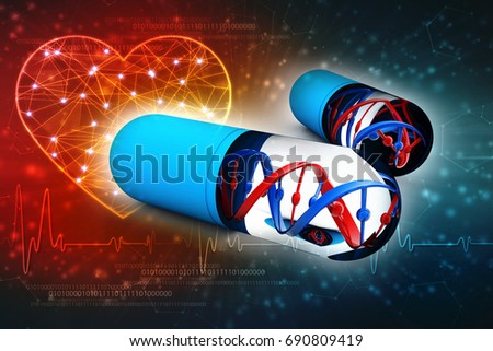 Genetic Medicine with dna isolated on digital background. 3d rendering - Shutterstock ID 690809419