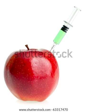 Genetic modification concept with red apple receiving an injection