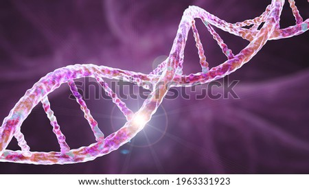 Genetic mutation, conceptual 3D illustration. Double stranded DNA molecule with mutation in a gene. Concept for genetic disorder. Destroyed human genome. DNA destruction and gene mutation Photo stock ©