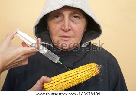 Genetically modified organism, ill woman with genetically modified corn