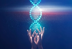 Genetics and medical science concept. Collage with male hands holding shiny DNA molecule on blue background