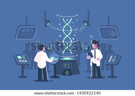 Genetics doctors researching dna in laboratory illustration. Two men in science lab with special equipments for research and experiments of deoxyribonucleic acid molecules flat style