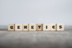 GENETICS word made with building blocks