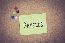 Genetics written on sticky note pinned on pinboard