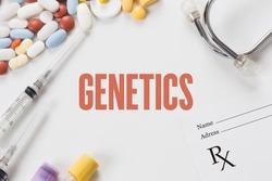 GENETICS written on white background with medication