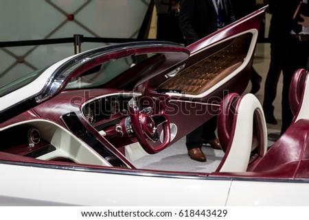 GENEVA 2017: bentley exp 12 car on display at 87th international Geneva motor Show at Palexpo-Geneva on March 9, 2017 at Geneva, Switzerland.  #618443429