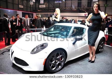 "GENEVA, MAR 5: Alfa Romeo 4C ""Edition Launch"", presented at the 83rd Geneva Motor Show, in Switzerland on March 5, 2013."