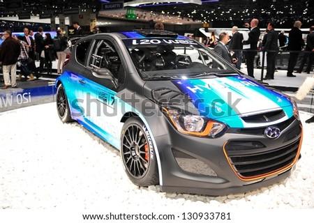 GENEVA, MAR 5: Hyundai i20 WRC, presented at the 83rd Geneva Motor Show, in Switzerland on March 5, 2013.