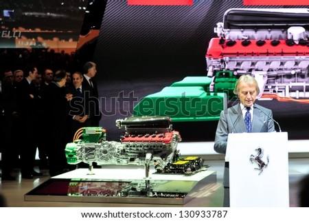 """GENEVA, MAR 5: Luca di Montezemolo during the press conference to present the Ferrari """"La Ferrari"""", hybrid super car from Ferrari, at the 83rd Geneva Motor Show, in Switzerland on March 5, 2013."""