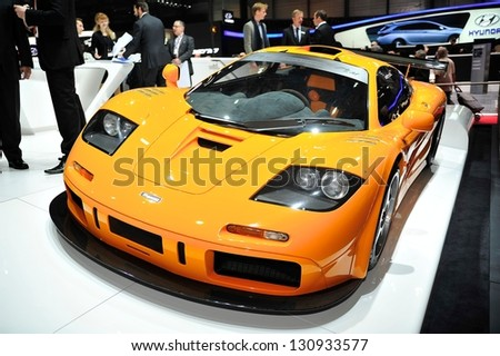 GENEVA MAR 5 McLaren F1 LM super car from McLaren at the 83rd Geneva Motor Show in Switzerland on March 5 2013