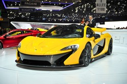 GENEVA, MAR 5: McLaren P1, hybrid super car from McLaren, presented at the 83rd Geneva Motor Show, in Switzerland on March 5, 2013.