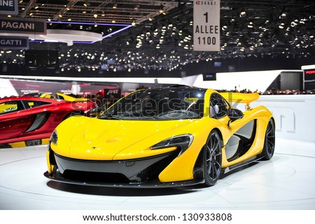 GENEVA MAR 5 McLaren P1 hybrid super car from McLaren presented at the 83rd Geneva Motor Show in Switzerland on March 5 2013